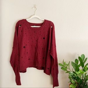 Nasty Gal Maroon Cropped Destroyed Sweater L